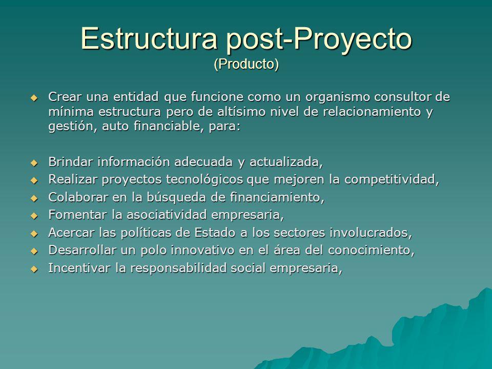 Estructura post-Proyecto (Producto) Crear una entidad que funcione como un organismo consultor de mínima estructura pero de altísimo nivel de relacion