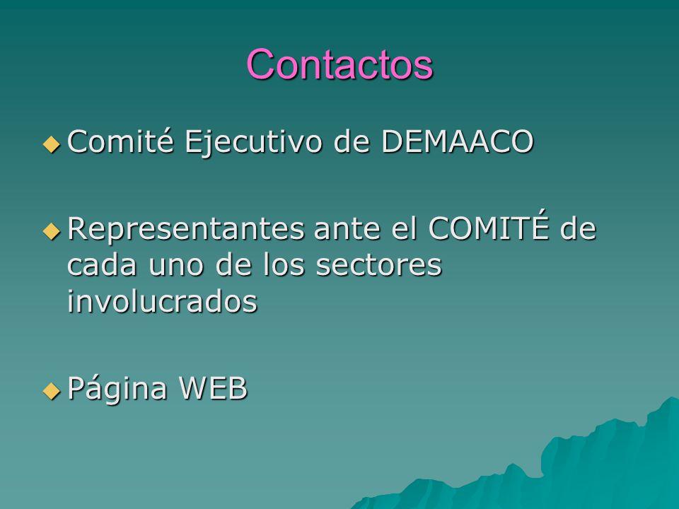 Contactos Comité Ejecutivo de DEMAACO Comité Ejecutivo de DEMAACO Representantes ante el COMITÉ de cada uno de los sectores involucrados Representantes ante el COMITÉ de cada uno de los sectores involucrados Página WEB Página WEB