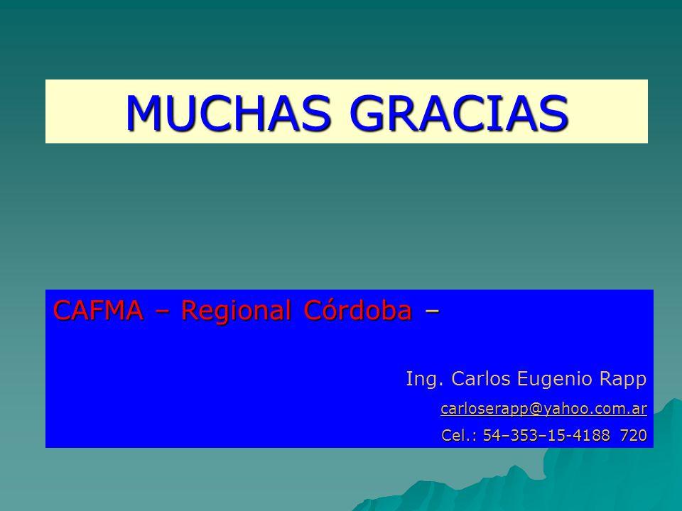 MUCHAS GRACIAS CAFMA – Regional Córdoba – Ing.