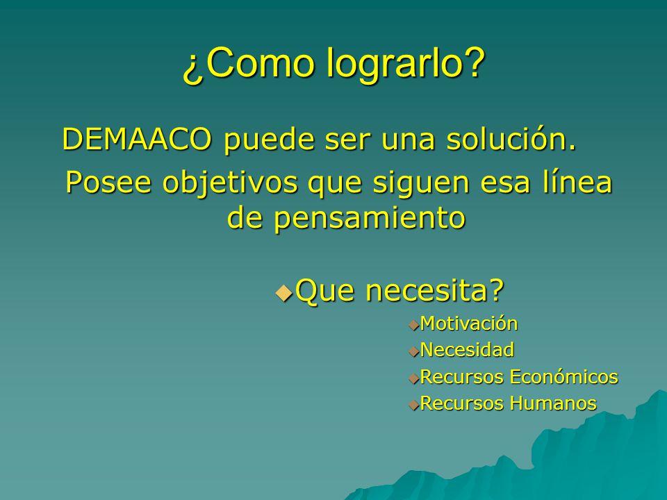 ¿Como lograrlo.DEMAACO puede ser una solución. DEMAACO puede ser una solución.