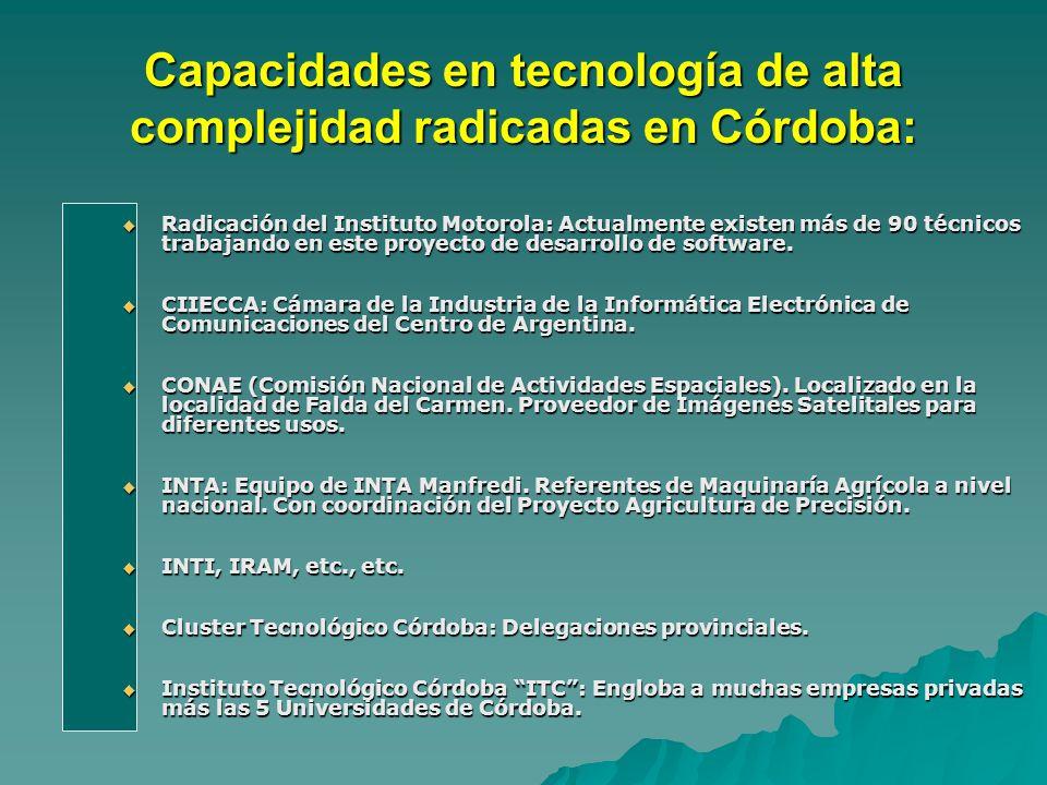 Capacidades en tecnología de alta complejidad radicadas en Córdoba: Radicación del Instituto Motorola: Actualmente existen más de 90 técnicos trabajando en este proyecto de desarrollo de software.