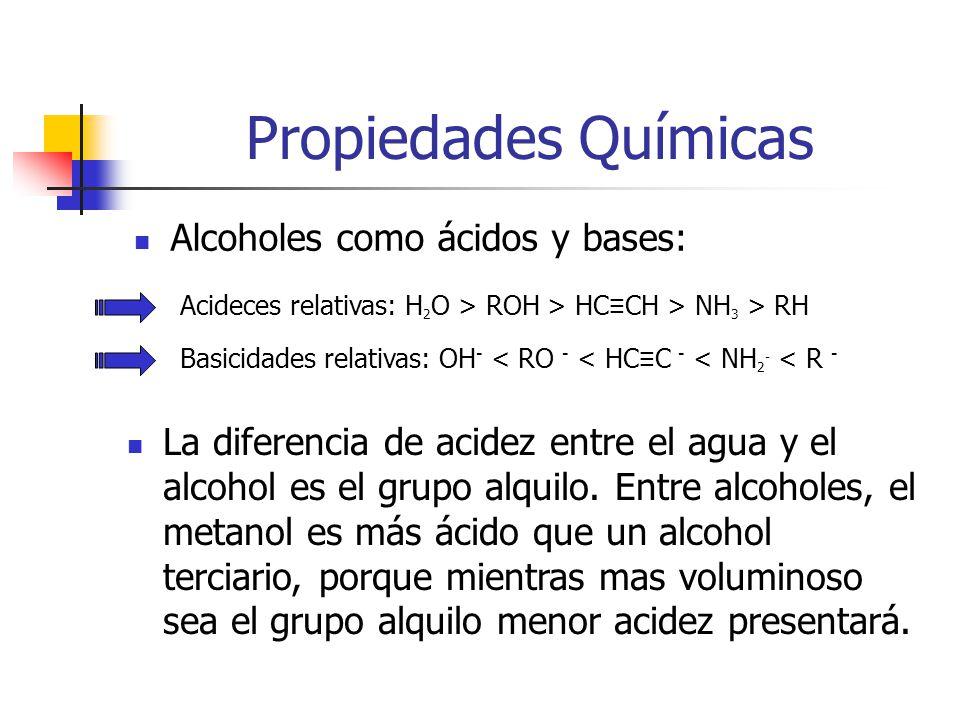 Propiedades Químicas Alcoholes como ácidos y bases: Acideces relativas: H 2 O > ROH > HC CH > NH 3 > RH Basicidades relativas: OH - < RO - < HC C - <