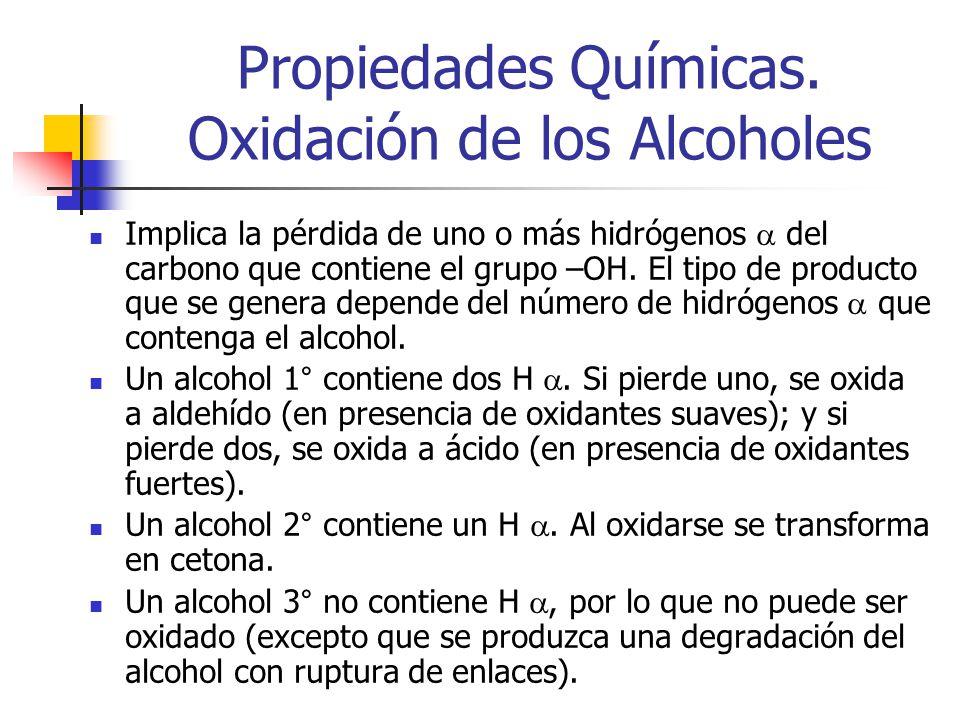 Propiedades Químicas. Oxidación de los Alcoholes Implica la pérdida de uno o más hidrógenos del carbono que contiene el grupo –OH. El tipo de producto