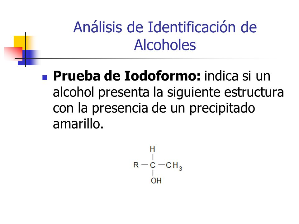 Análisis de Identificación de Alcoholes Prueba de Iodoformo: indica si un alcohol presenta la siguiente estructura con la presencia de un precipitado amarillo.