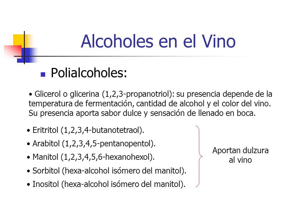 Alcoholes en el Vino Polialcoholes: Glicerol o glicerina (1,2,3-propanotriol): su presencia depende de la temperatura de fermentación, cantidad de alcohol y el color del vino.
