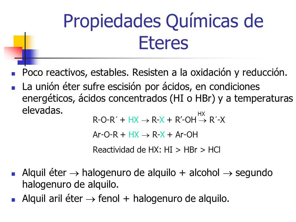 Propiedades Químicas de Eteres Poco reactivos, estables. Resisten a la oxidación y reducción. La unión éter sufre escisión por ácidos, en condiciones