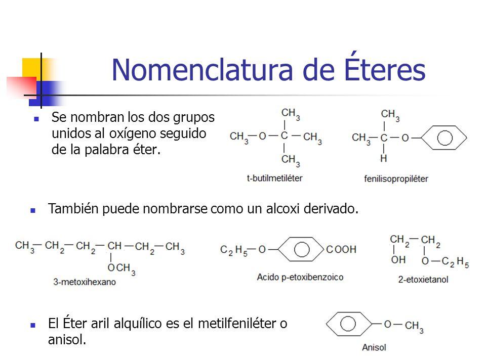 Nomenclatura de Éteres Se nombran los dos grupos unidos al oxígeno seguido de la palabra éter. También puede nombrarse como un alcoxi derivado. El Éte