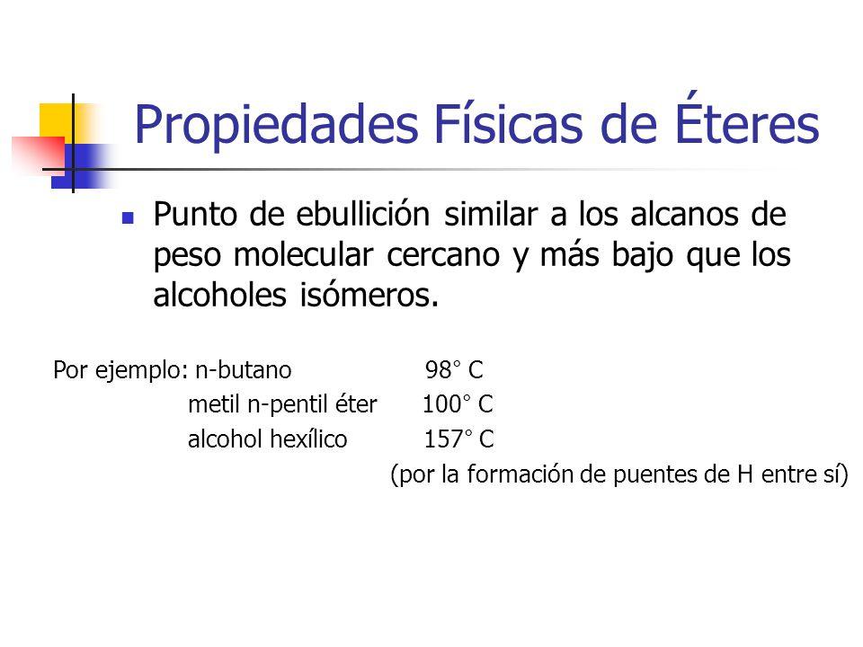 Propiedades Físicas de Éteres Punto de ebullición similar a los alcanos de peso molecular cercano y más bajo que los alcoholes isómeros.