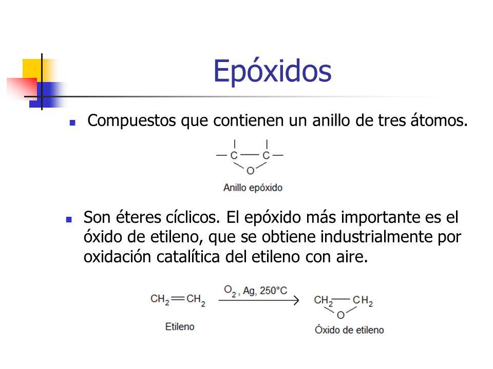 Epóxidos Compuestos que contienen un anillo de tres átomos. Son éteres cíclicos. El epóxido más importante es el óxido de etileno, que se obtiene indu