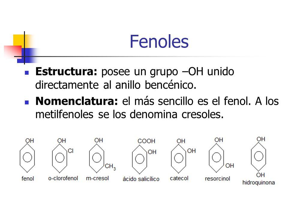 Fenoles Estructura: posee un grupo –OH unido directamente al anillo bencénico. Nomenclatura: el más sencillo es el fenol. A los metilfenoles se los de