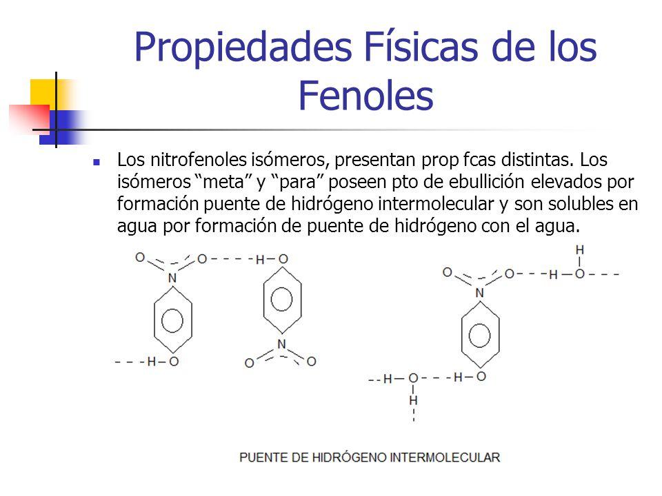 Propiedades Físicas de los Fenoles Los nitrofenoles isómeros, presentan prop fcas distintas. Los isómeros meta y para poseen pto de ebullición elevado
