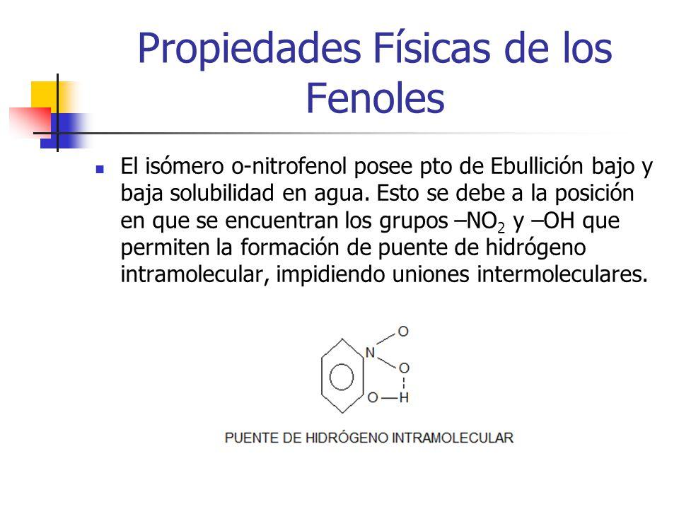 Propiedades Físicas de los Fenoles El isómero o-nitrofenol posee pto de Ebullición bajo y baja solubilidad en agua. Esto se debe a la posición en que