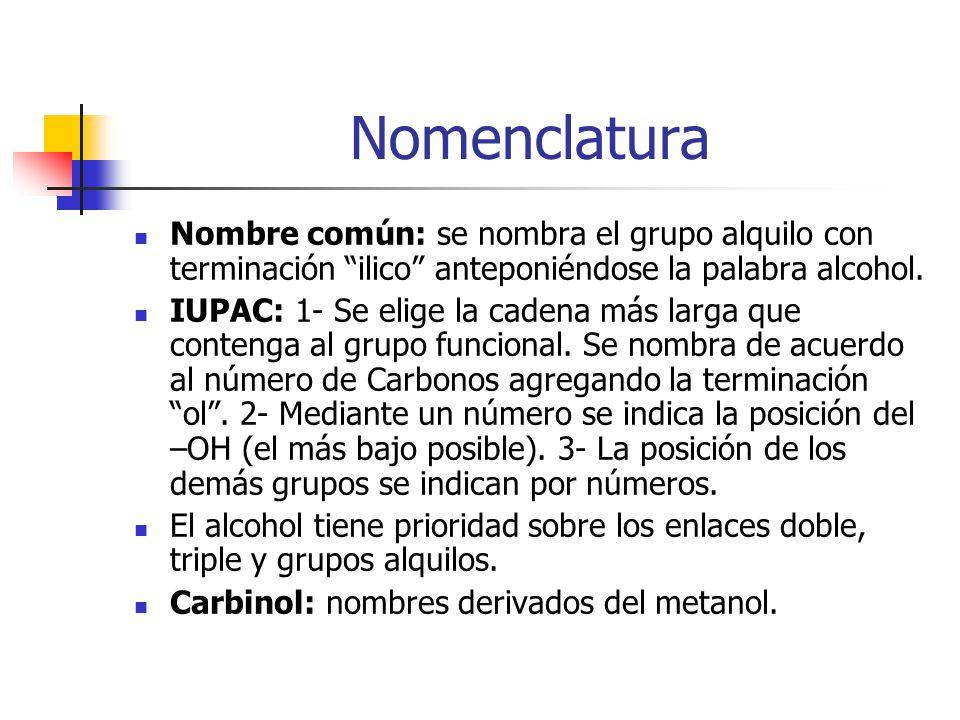 Nomenclatura Nombre común: se nombra el grupo alquilo con terminación ilico anteponiéndose la palabra alcohol. IUPAC: 1- Se elige la cadena más larga