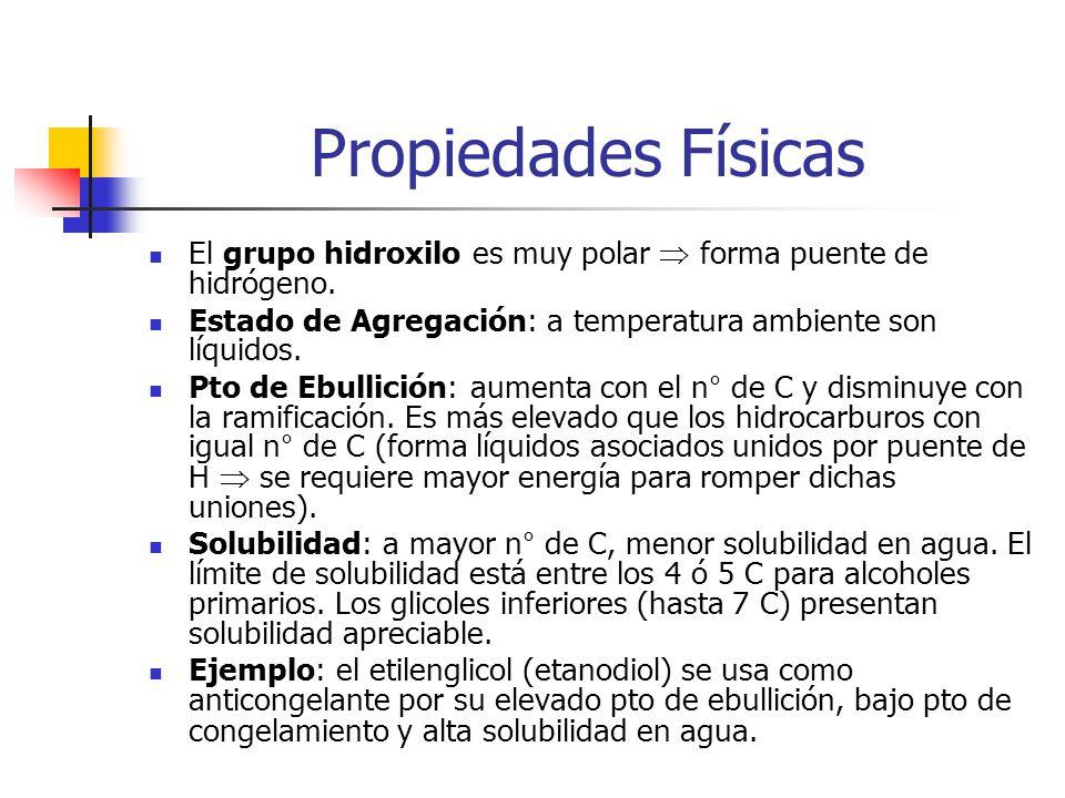 Fuente Industrial Fermentación de carbohidratos: Caña de azúcar Melasas Azúcares fermentación Alcohol etílico o etanol GranosAlmidón con levaduraAceite de fusel (mezclas de alcoholes primarios) Síntesis de Grignard.
