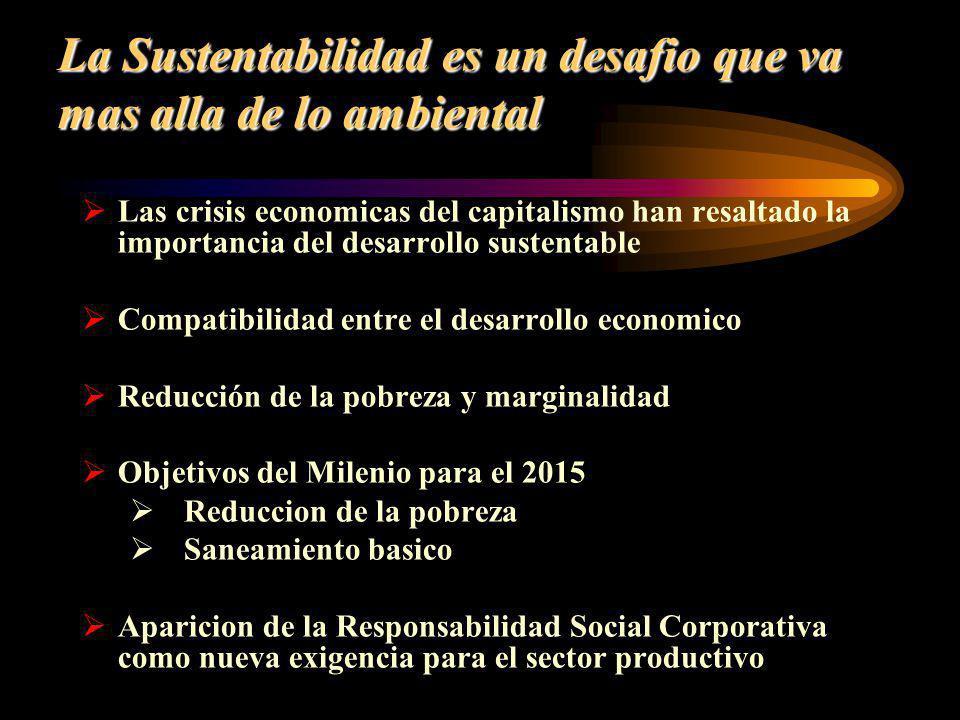 La Sustentabilidad es un desafio que va mas alla de lo ambiental Las crisis economicas del capitalismo han resaltado la importancia del desarrollo sus