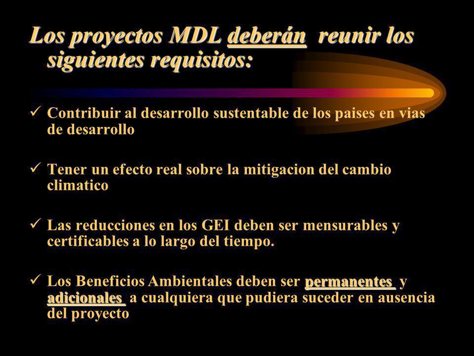 Los proyectos MDL deberán reunir los siguientes requisitos: Contribuir al desarrollo sustentable de los paises en vias de desarrollo Tener un efecto r