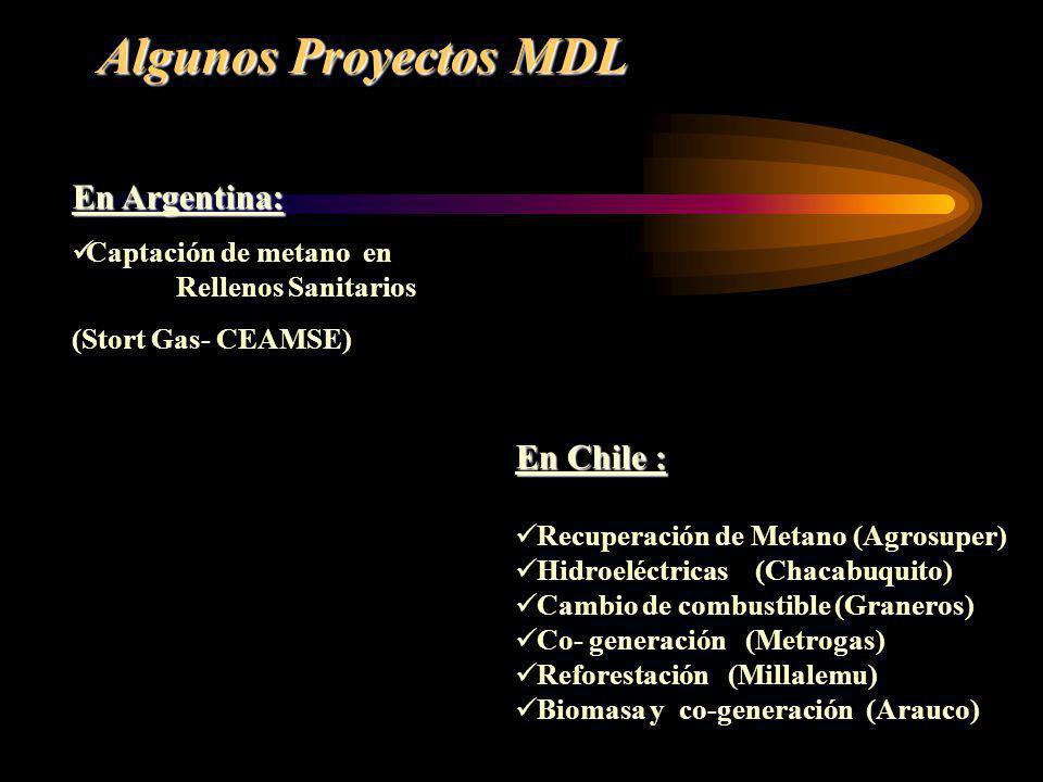 Algunos Proyectos MDL En Chile : Recuperación de Metano (Agrosuper) Hidroeléctricas (Chacabuquito) Cambio de combustible (Graneros) Co- generación (Me