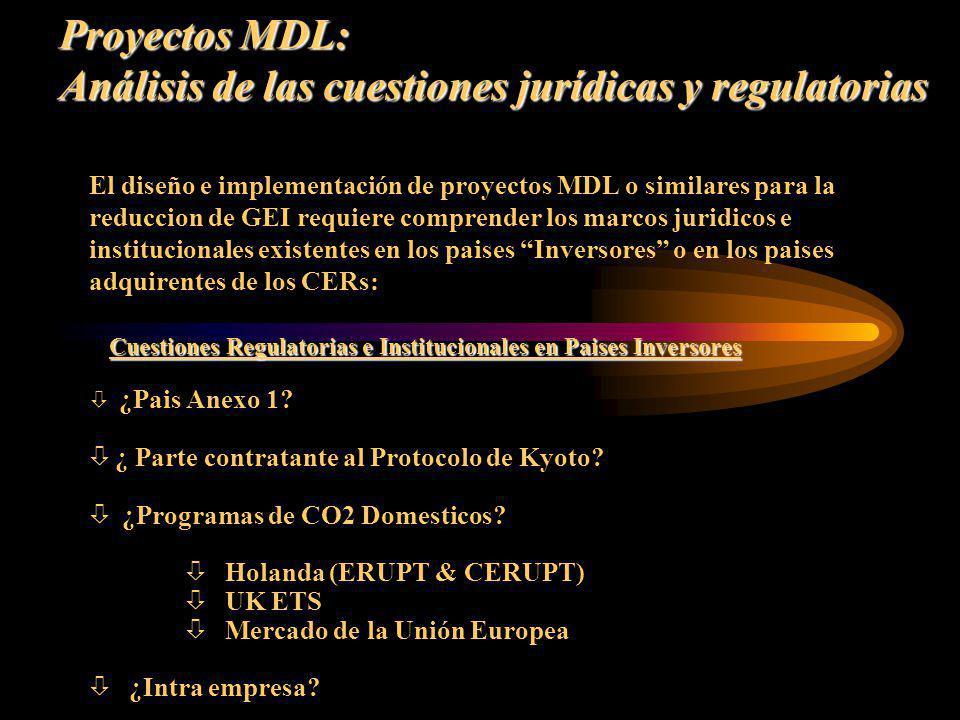 Proyectos MDL: Análisis de las cuestiones jurídicas y regulatorias El diseño e implementación de proyectos MDL o similares para la reduccion de GEI re