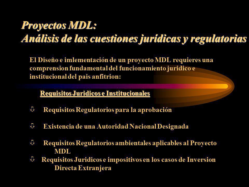Proyectos MDL: Análisis de las cuestiones jurídicas y regulatorias El Diseño e imlementación de un proyecto MDL requieres una comprension fundamental