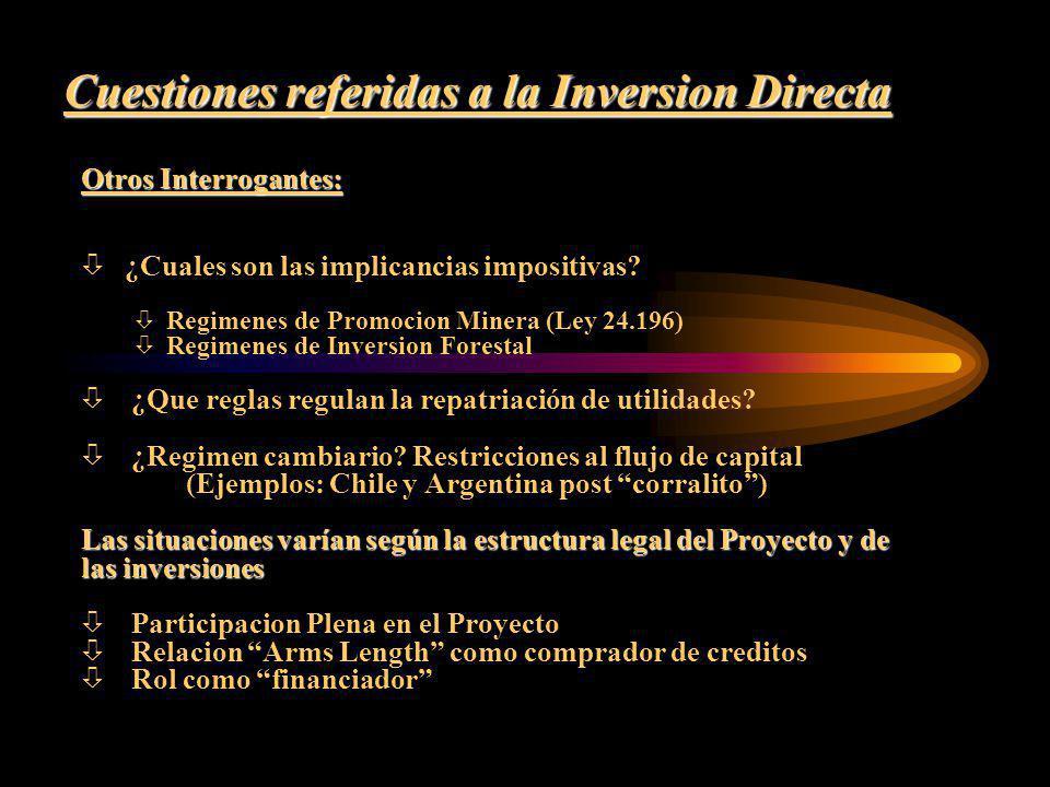 Cuestiones referidas a la Inversion Directa Otros Interrogantes: ò ¿Cuales son las implicancias impositivas? ò Regimenes de Promocion Minera (Ley 24.1