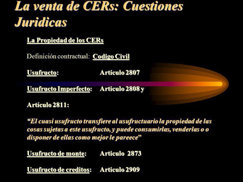 La venta de CERs: Cuestiones Juridicas La Propiedad de los CERs Codigo Civil Definición contractual: Codigo Civil Usufructo:Artículo 2807 Usufructo Im