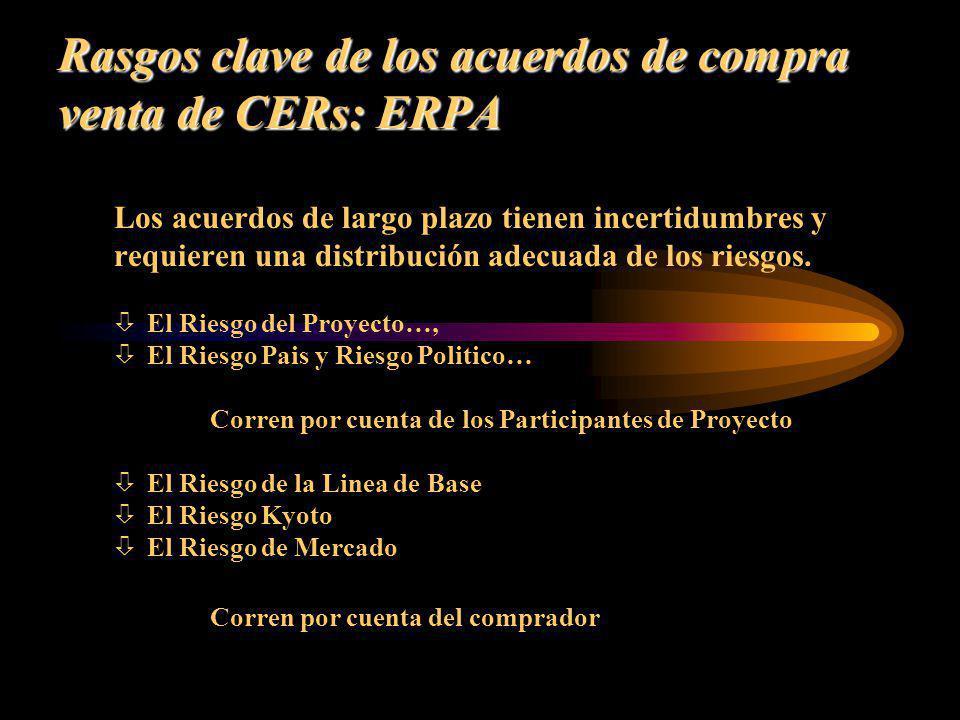 Rasgos clave de los acuerdos de compra venta de CERs: ERPA Los acuerdos de largo plazo tienen incertidumbres y requieren una distribución adecuada de