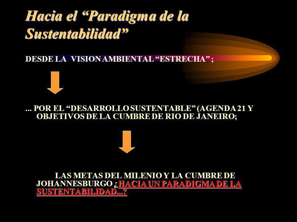 Hacia el Paradigma de la Sustentabilidad DESDE LA VISION AMBIENTAL ESTRECHA ;... POR EL DESARROLLO SUSTENTABLE (AGENDA 21 Y OBJETIVOS DE LA CUMBRE DE