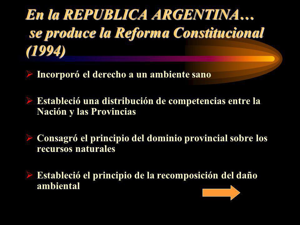 En la REPUBLICA ARGENTINA… se produce la Reforma Constitucional (1994) Incorporó el derecho a un ambiente sano Estableció una distribución de competen