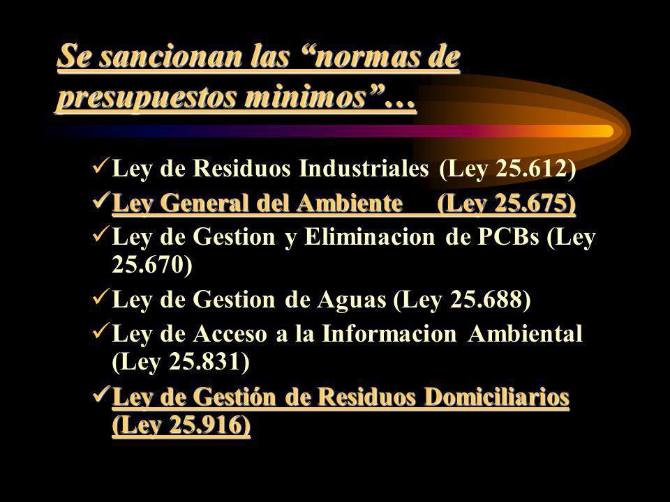 Se sancionan las normas de presupuestos minimos… Ley de Residuos Industriales (Ley 25.612) Ley General del Ambiente (Ley 25.675) Ley General del Ambie