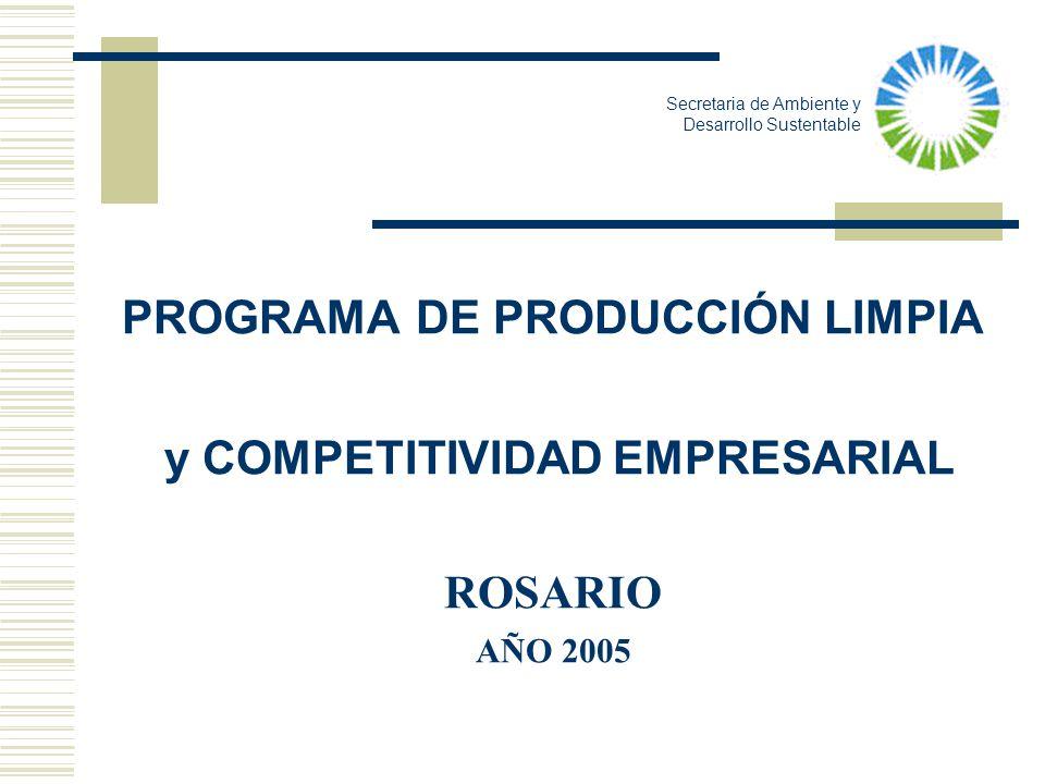 PROGRAMA DE PRODUCCIÓN LIMPIA y COMPETITIVIDAD EMPRESARIAL ROSARIO AÑO 2005 Secretaria de Ambiente y Desarrollo Sustentable