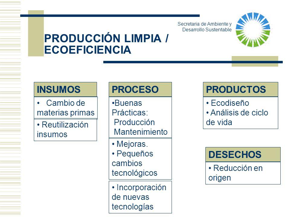 PRODUCCIÓN LIMPIA / ECOEFICIENCIA PRODUCTOSPROCESOINSUMOS Buenas Prácticas: Producción Mantenimiento Mejoras. Pequeños cambios tecnológicos Cambio de