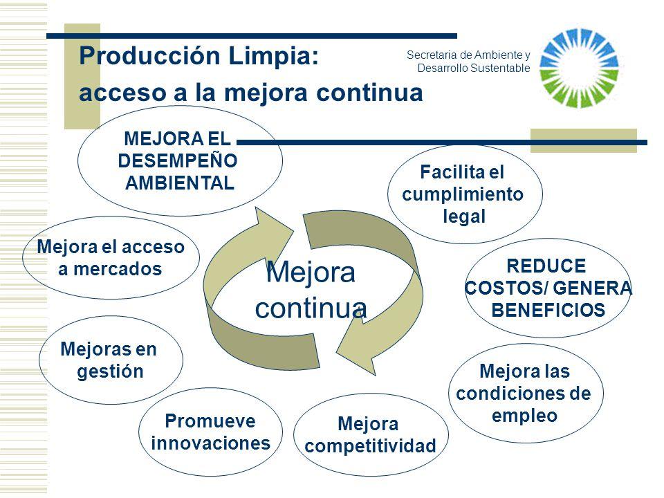 Producción Limpia: acceso a la mejora continua Mejora el acceso a mercados MEJORA EL DESEMPEÑO AMBIENTAL REDUCE COSTOS/ GENERA BENEFICIOS Mejora compe
