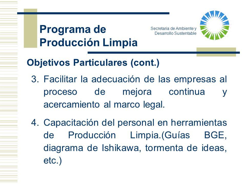 Secretaria de Ambiente y Desarrollo Sustentable 3.Facilitar la adecuación de las empresas al proceso de mejora continua y acercamiento al marco legal.