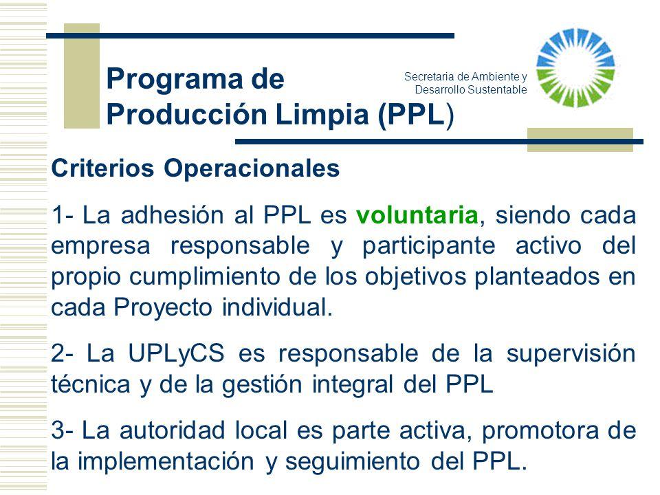 Criterios Operacionales 1- La adhesión al PPL es voluntaria, siendo cada empresa responsable y participante activo del propio cumplimiento de los obje