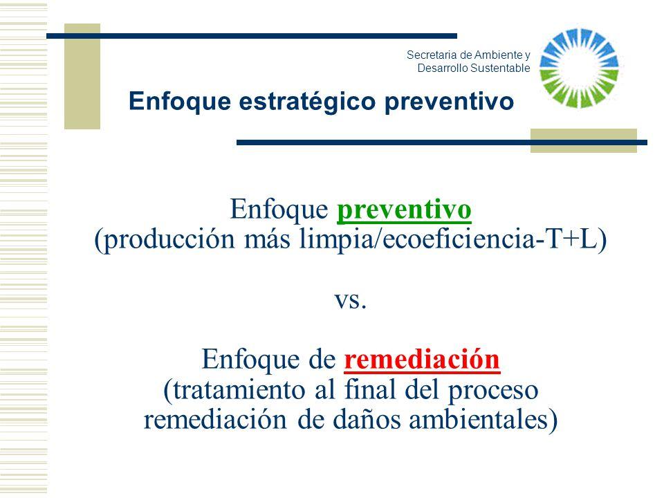 Enfoque preventivo (producción más limpia/ecoeficiencia-T+L) vs. Enfoque de remediación (tratamiento al final del proceso remediación de daños ambient