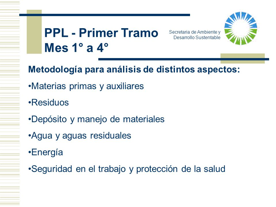 Secretaria de Ambiente y Desarrollo Sustentable Metodología para análisis de distintos aspectos: Materias primas y auxiliares Residuos Depósito y mane