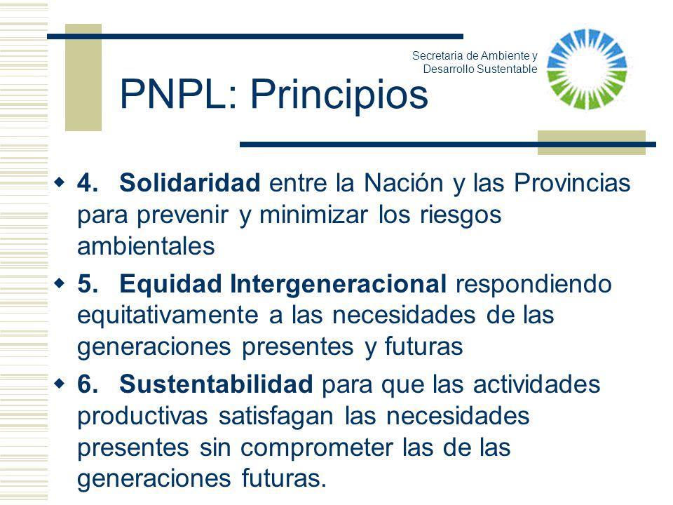 PNPL: Principios 4.Solidaridad entre la Nación y las Provincias para prevenir y minimizar los riesgos ambientales 5.Equidad Intergeneracional respondi