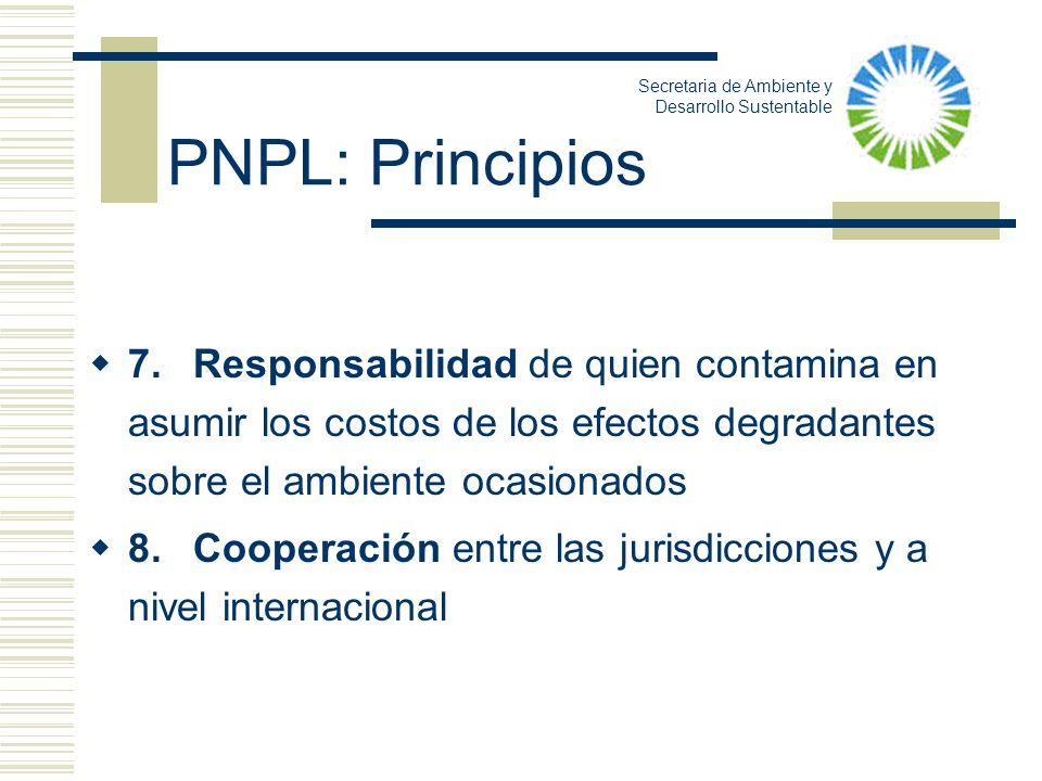 7.Responsabilidad de quien contamina en asumir los costos de los efectos degradantes sobre el ambiente ocasionados 8.Cooperación entre las jurisdiccio