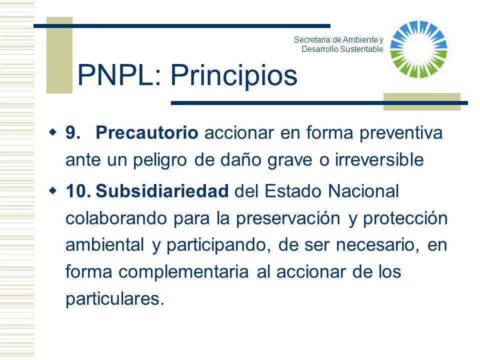 9.Precautorio accionar en forma preventiva ante un peligro de daño grave o irreversible 10.Subsidiariedad del Estado Nacional colaborando para la pres