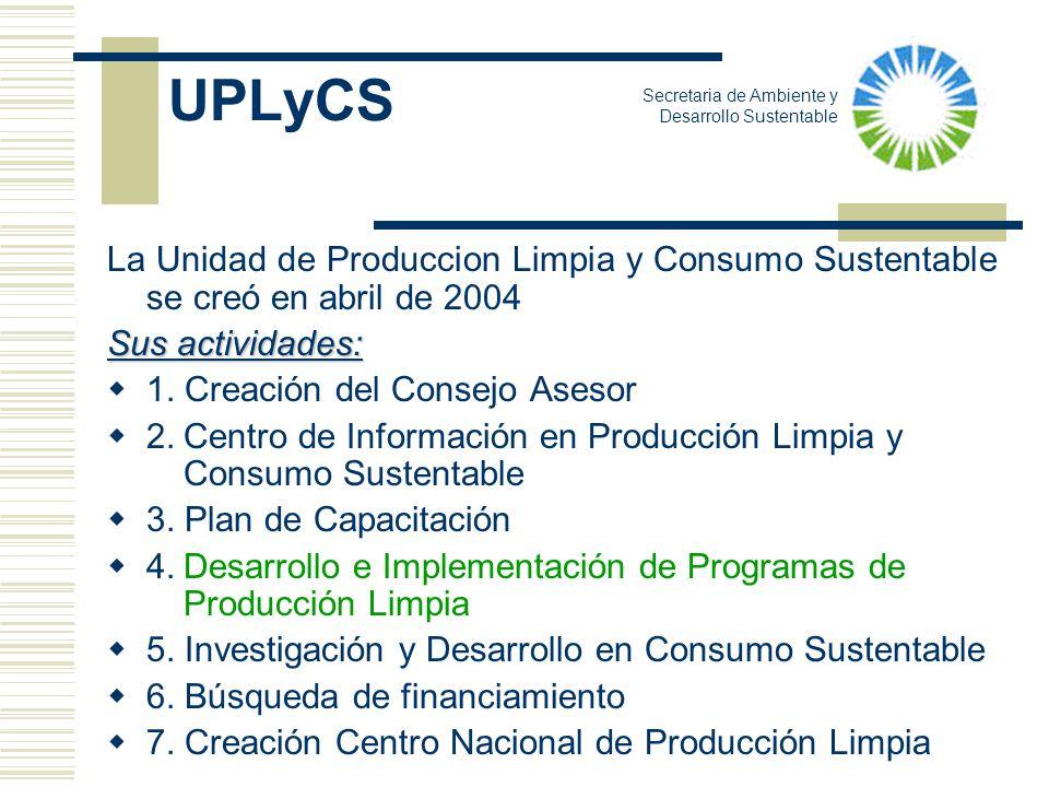 UPLyCS La Unidad de Produccion Limpia y Consumo Sustentable se creó en abril de 2004 Sus actividades: 1. Creación del Consejo Asesor 2.Centro de Infor
