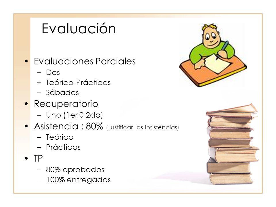 Evaluación Evaluaciones Parciales –Dos –Teórico-Prácticas –Sábados Recuperatorio –Uno (1er 0 2do) Asistencia : 80% (Justificar las Insistencias) –Teór