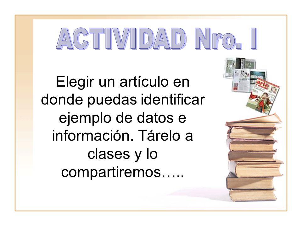 Elegir un artículo en donde puedas identificar ejemplo de datos e información. Tárelo a clases y lo compartiremos…..