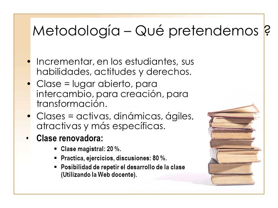 Metodología – Qué pretendemos ? Incrementar, en los estudiantes, sus habilidades, actitudes y derechos. Clase = lugar abierto, para intercambio, para