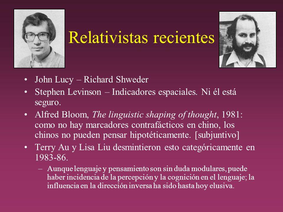 Relativistas recientes John Lucy – Richard Shweder Stephen Levinson – Indicadores espaciales.