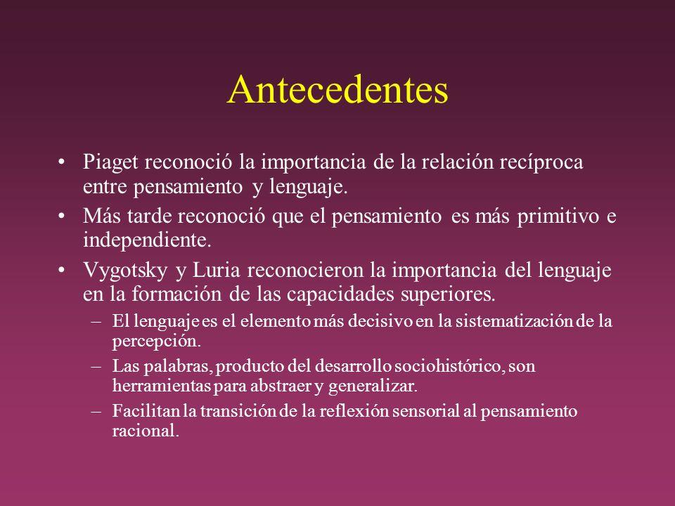 Antecedentes Piaget reconoció la importancia de la relación recíproca entre pensamiento y lenguaje.