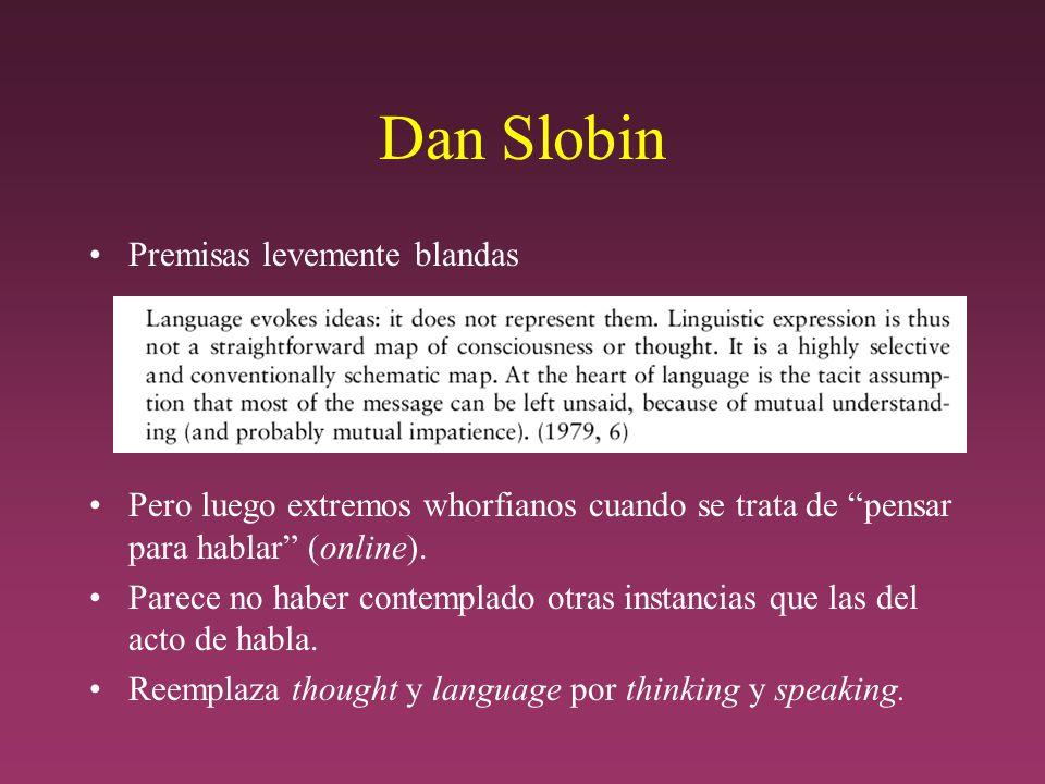 Dan Slobin Premisas levemente blandas Pero luego extremos whorfianos cuando se trata de pensar para hablar (online).