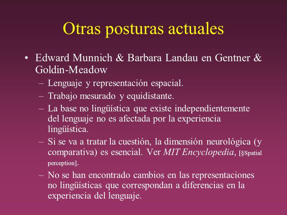 Otras posturas actuales Edward Munnich & Barbara Landau en Gentner & Goldin-Meadow –Lenguaje y representación espacial.