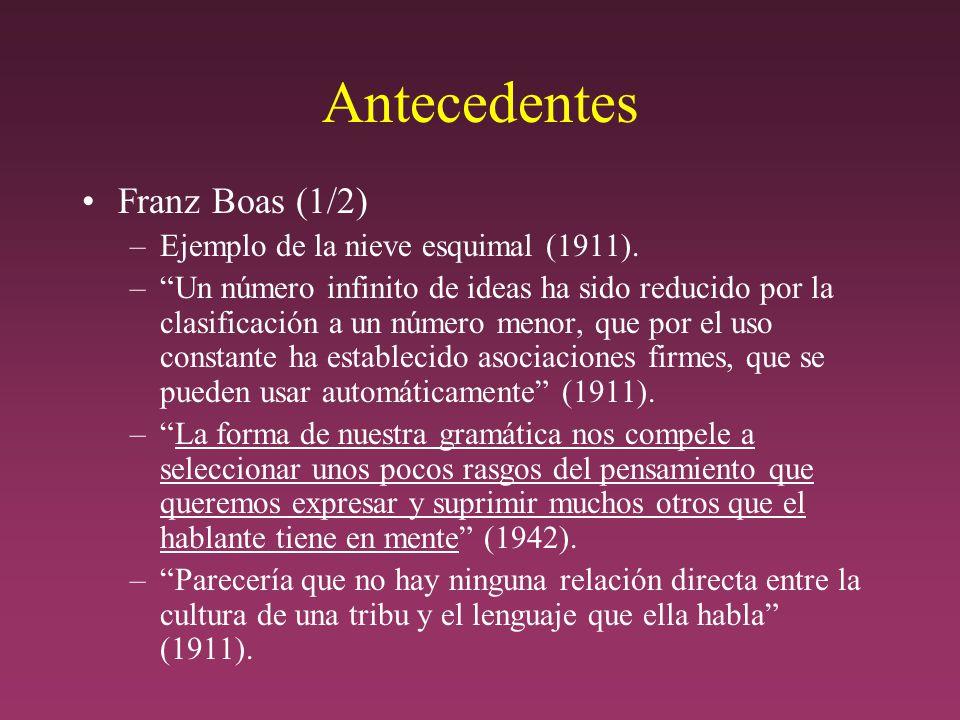 Antecedentes Franz Boas (1/2) –Ejemplo de la nieve esquimal (1911).
