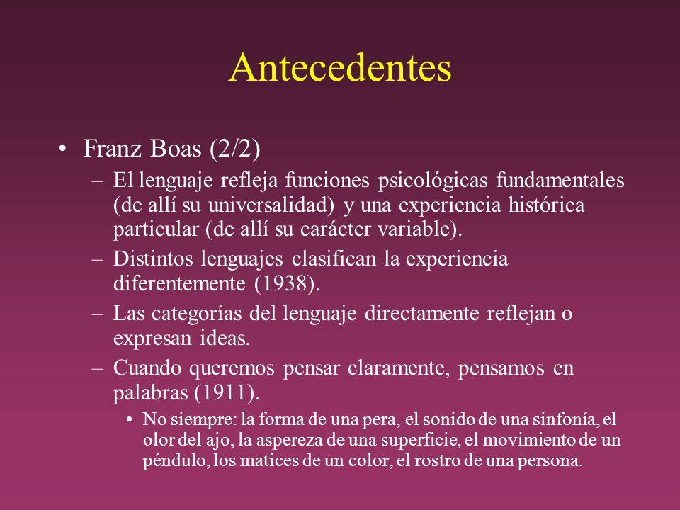 Antecedentes Franz Boas (2/2) –El lenguaje refleja funciones psicológicas fundamentales (de allí su universalidad) y una experiencia histórica particular (de allí su carácter variable).