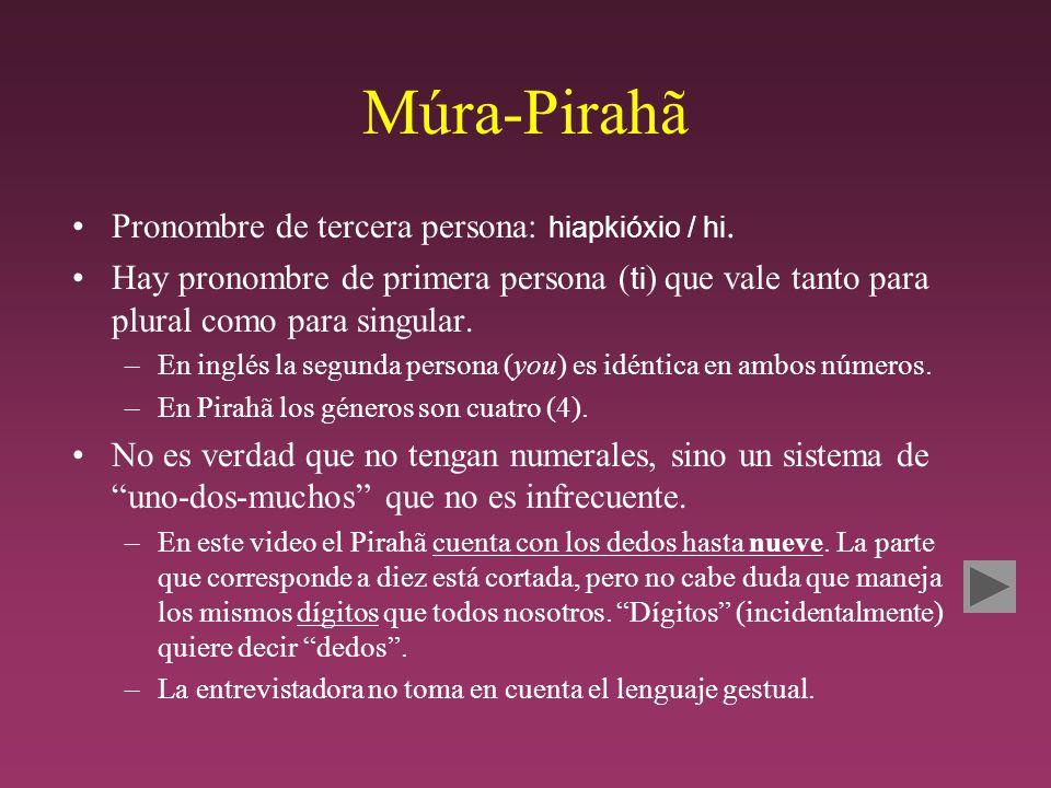 Múra-Pirahã Pronombre de tercera persona: hiapkióxio / hi.